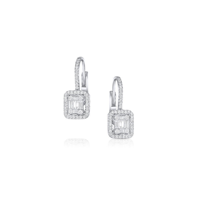 18K WHITE GOLD DIAMOND HUGGIE EARRINGS