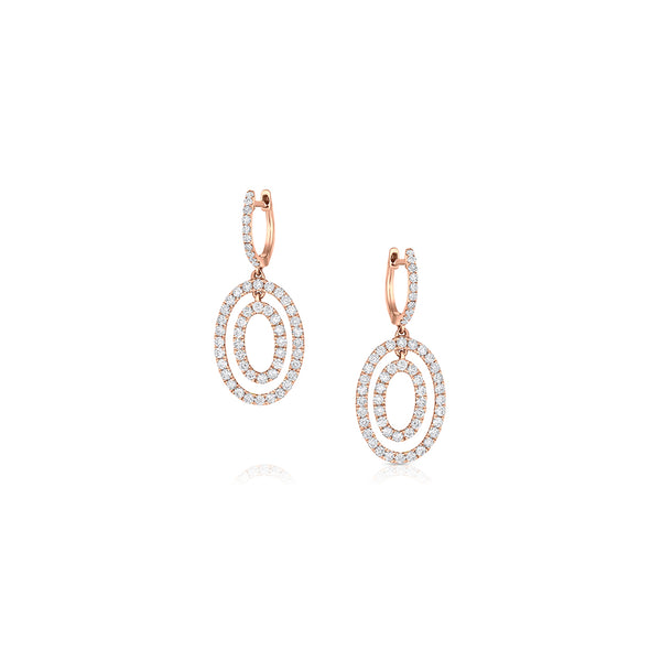 ODELIA 18KT ROSE GOLD DIAMOND DOUBLE OVAL SNAP EARRINGS