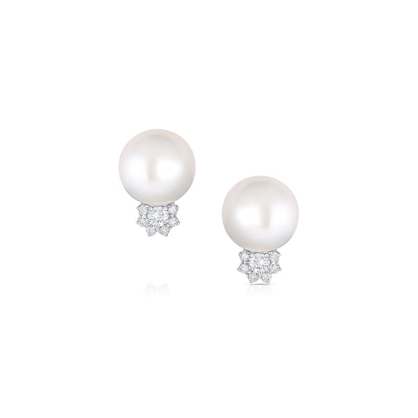 RIVIERA SOUTH SEA PEARL AND DIAMOND EARRINGS