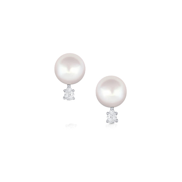 PLATINUM WHITE SOUTH SEA PEARL AND DIAMOND EARRINGS