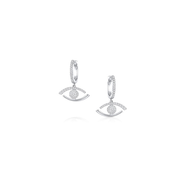 18KT WHITE GOLD DIAMOND EVIL EYE EARRINGS