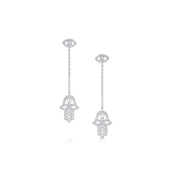 18KT WHITE GOLD DIAMOND DANGLE EVIL EYE AND HAMSA EARRINGS