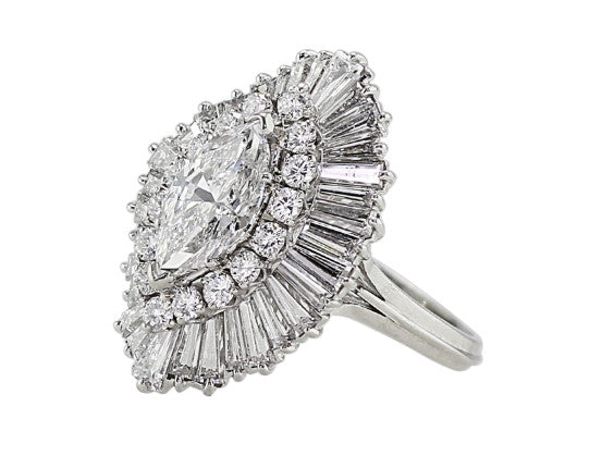 Estate 2ct Marquise Diamond Ballerina Ring, GIA-certified