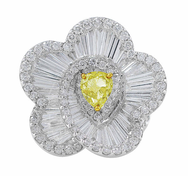 Flower Swirl White and Yellow Diamond Ring