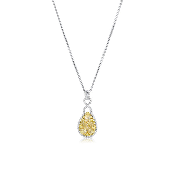 18k Gold Yellow and White Diamond Teardrop Cluster Pendant Necklace