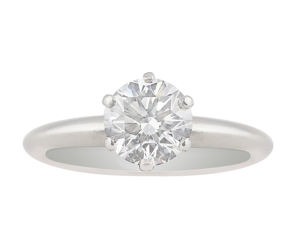 Estate Tiffany & Co. Platinum Diamond Solitaire Ring