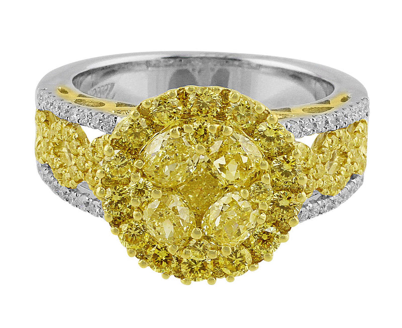 Yellow Diamond Cluster Ring