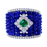 Wide Sapphire Diamond Center Emerald Band