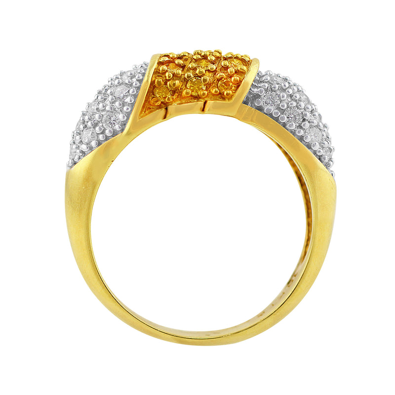 Estate Yellow and White Pavé Diamond Ring