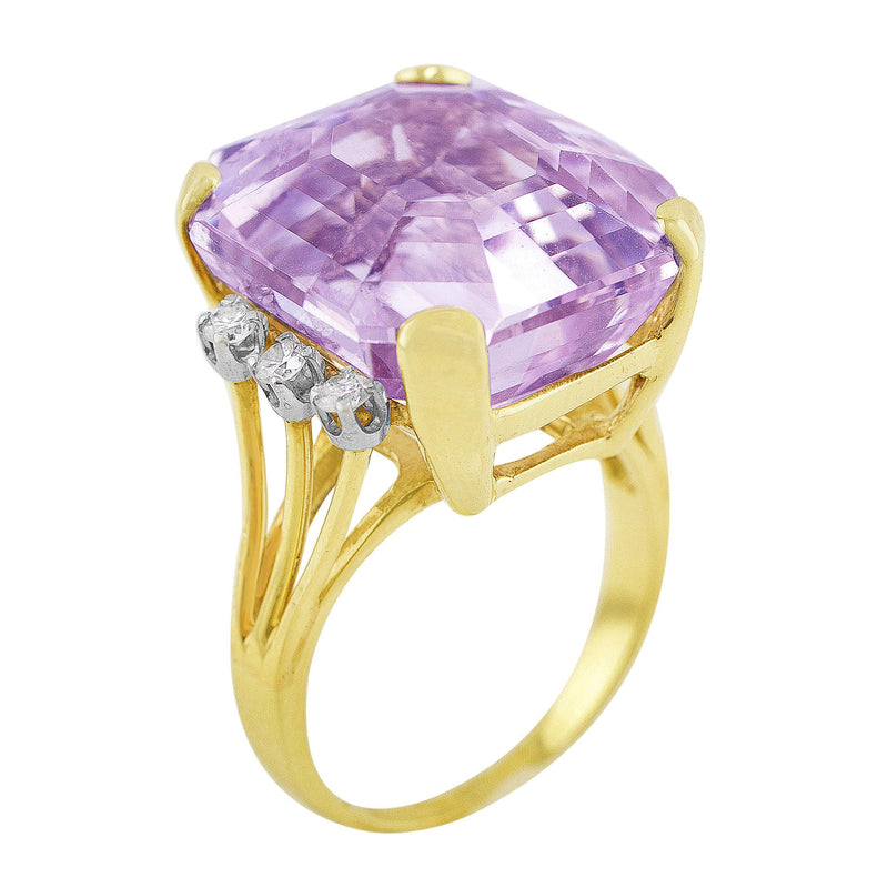 1940's Kunzite Diamond Yellow Gold Ring with 0.22ct Kunzite