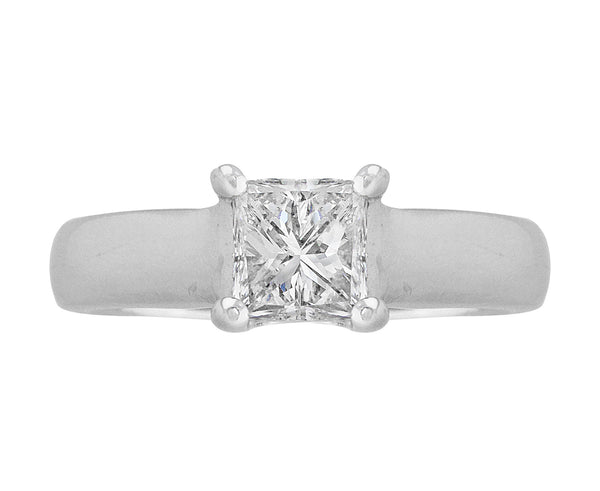 Estate 14k White Gold Princess Cut Diamond Engagement Ring