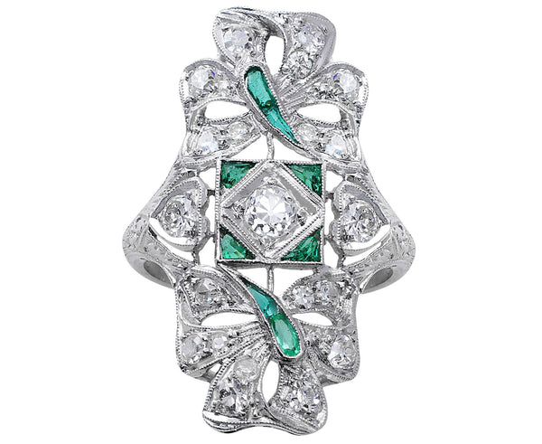Estate Emerald and Diamond Panel Ring