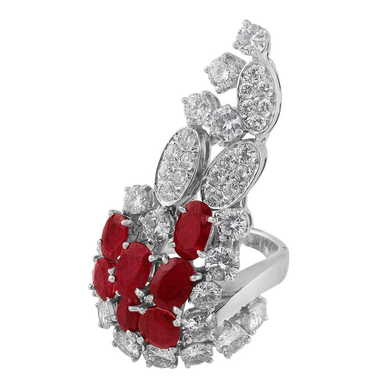 Estate Ruby Diamond Cluster Ring