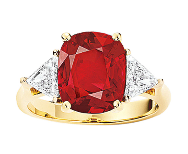 Estate Cushion Cut 5ct Thai Ruby Ring