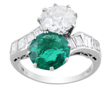 Estate Emerald Diamond Bypass Ring