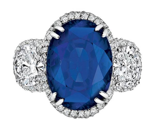 Burmese Sapphire Oval Diamond Ring, Gubelin-certified