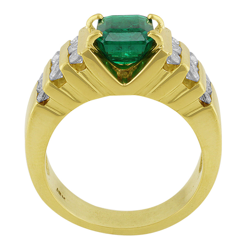Estate Emerald Yellow Gold Diamond Ring