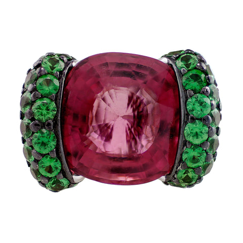 10ct Pink Tourmaline Green Tsavorite Ring