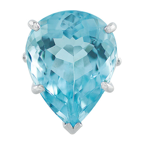 Estate 16.44ct pear-shaped Aquamarine Ring in 14k white gold