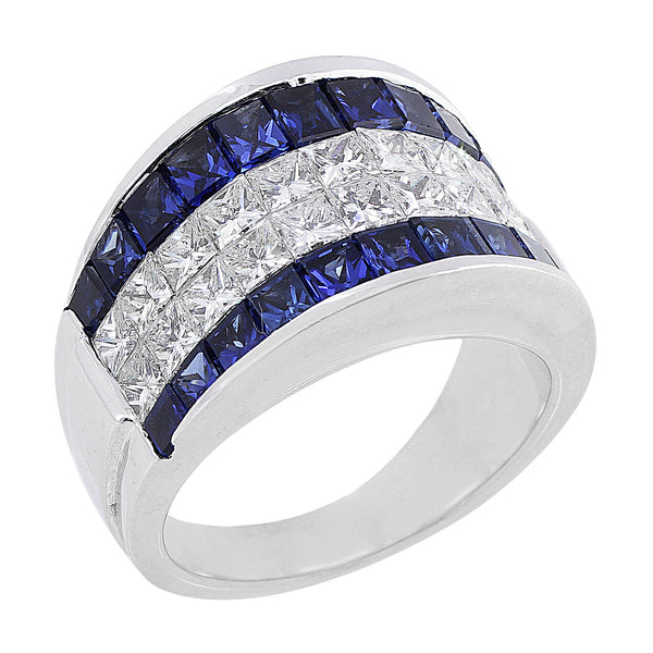 Invisibly set Sapphire and Diamond Ring