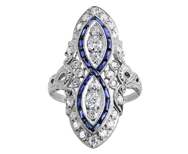 Vintage Sapphire and Diamond Infinity Ring