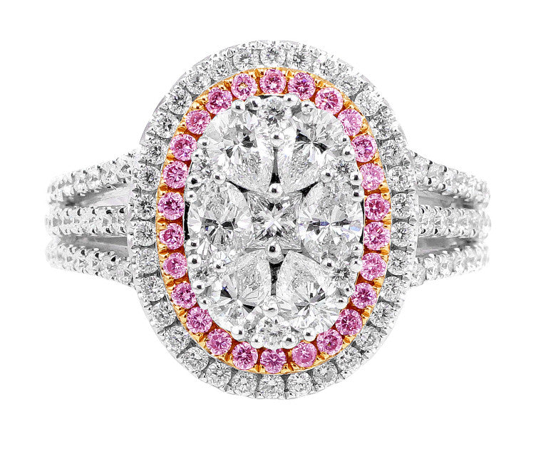 Pink and White Diamond Oval Cluster Ring