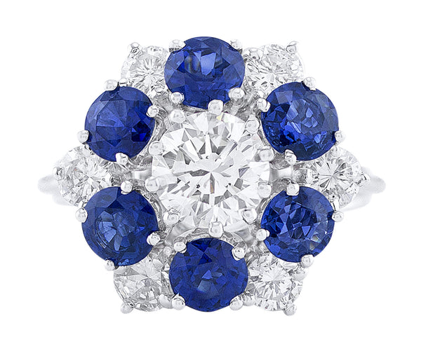 Estate High Set Sapphire Diamond Flower Ring