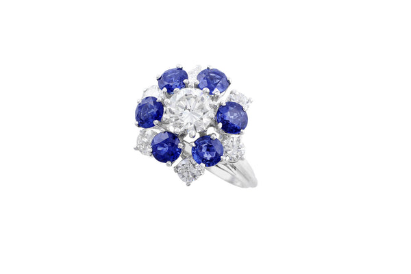 High Set Sapphire Diamond Flower Ring