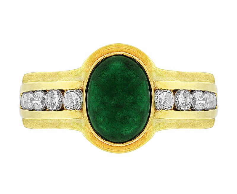 Estate Cabochon Emerald Diamond Ring