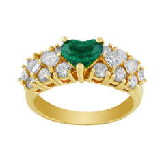 Estate Emerald Heart Center Diamond Ring