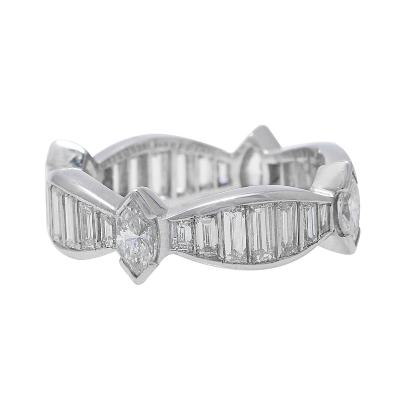 2ct Estate Platinum Diamond Ring with marquise and baguette cut diamonds