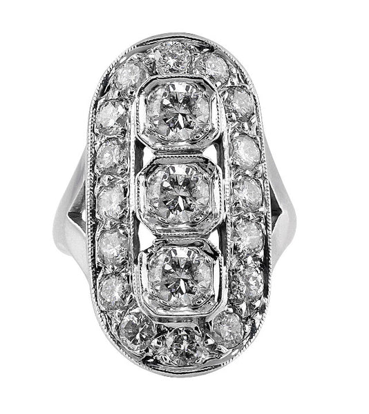 Estate Art Deco Diamond Panel Ring