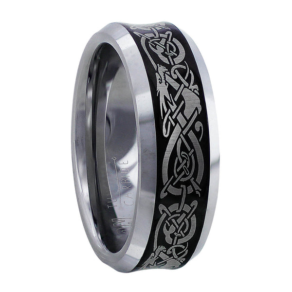 Men's Tungsten Carbide Band with Celtic Knots & Dragons