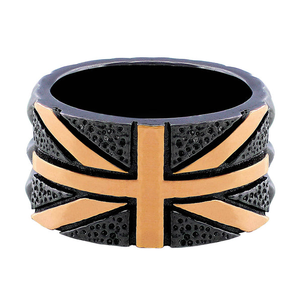Stephen Webster Black Rhodium & Rose Gold Union Jack Ring