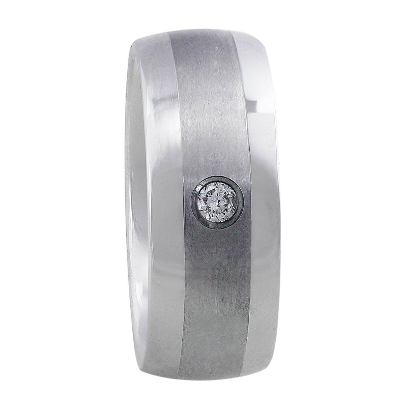 Tungsten Carbide Satin & Polished Diamond Band