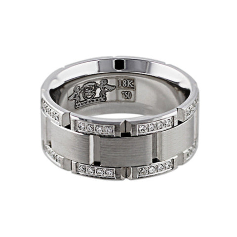 18k White Gold Diamond Link Band