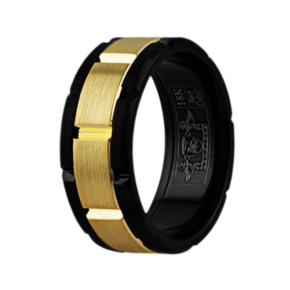 Black Cobalt 18k Yellow Gold Band