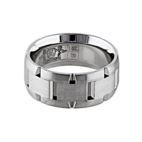 Brushed 18k White Gold Link Band