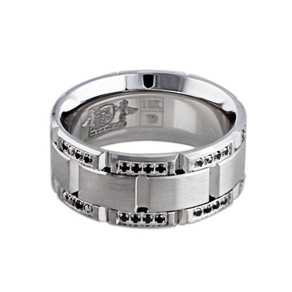 18k White Gold Black Diamond Link Band