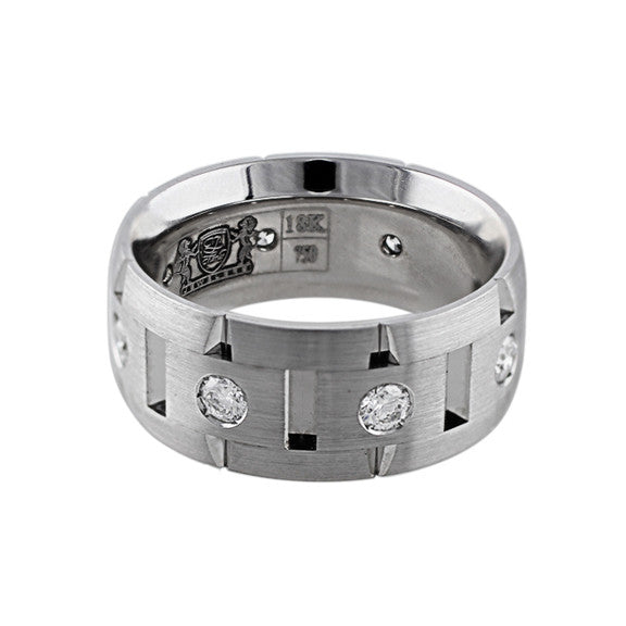 Brushed 18k White Gold Diamond Link Band