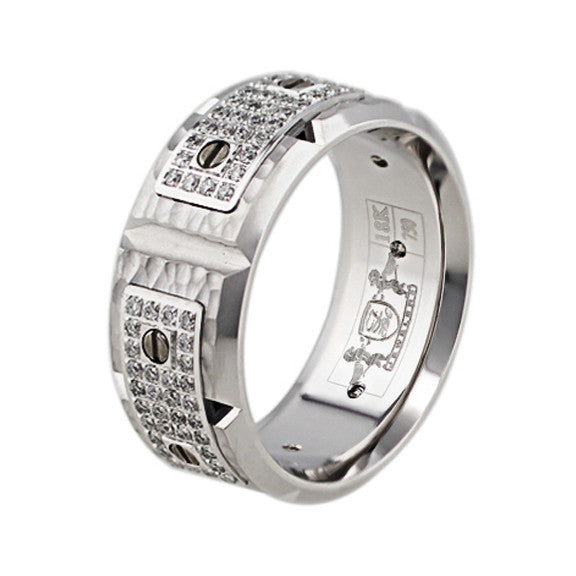 Hammered 18k White Gold Diamond Screw Band