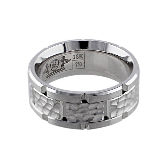 Hammered 18k White Gold Link Band