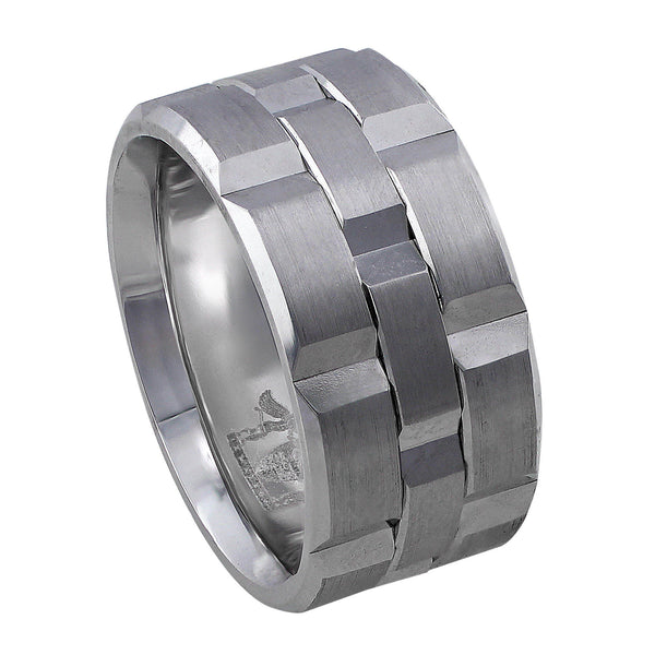 18kt White Gold Beveled Men's Band