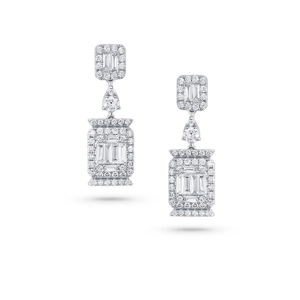 18k White Gold Diamond Modern Drop Earrings