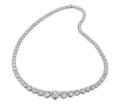 50ct Graduated Riviera Diamond Platinum Necklace