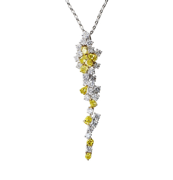 Fancy Yellow White Diamond Pendant