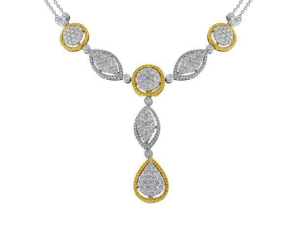 Yellow and White Diamond Detachable Drop Necklace