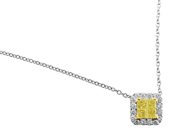 Square Yellow and White Diamond Pendant Necklace