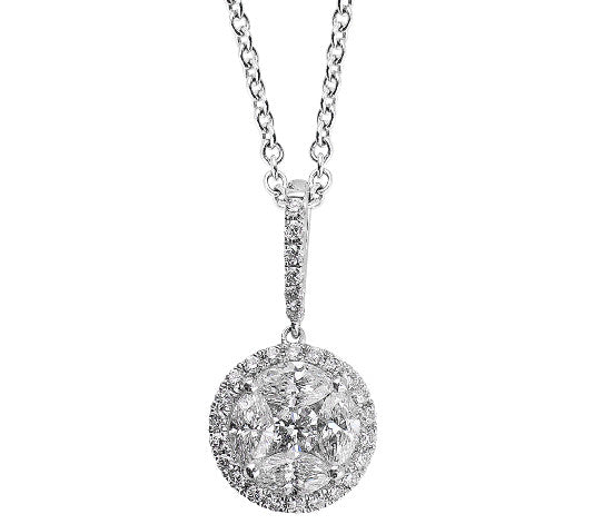 White Gold Round Diamond Pendant Necklace