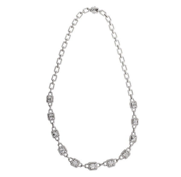 Round Baguette Diamond Necklace